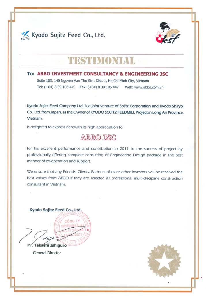 Kyodo Sojitz Feed Co LTD - testimonal
